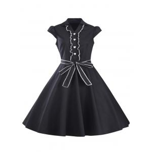 Ruffled Cap Sleeves Flare A Line Dress