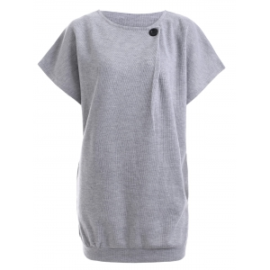 Button Design Short Sleeve Jumper Dress