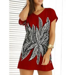 Casual V-Neck Printed Elastic Waist Dress For Women - Red - One Size