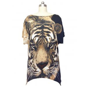 Trendy Tiger Print Loose Fitting Animal Print Blouse For Women - Black - One Size