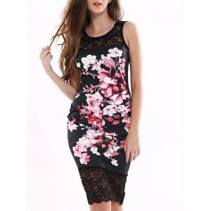Floral Pattern Lace Splicing Dress - Black - S