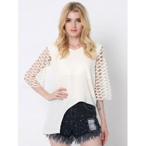 Novelty Splicing Cut Out Asymmetric Blouse