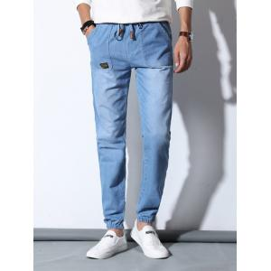 Drawstring Patch Pocket Design Jogger Jeans For Men