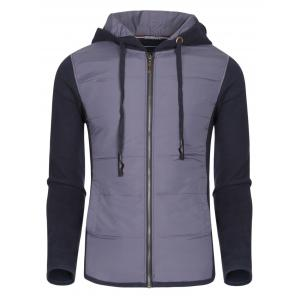 Hooded Color Block Polyester Splicing Design Thicken Hoodie For Men