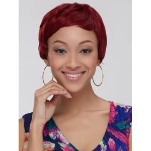 Wine Red Ombre Ultrashort Women's Synthetic Hair Wig - Colormix - 14inch