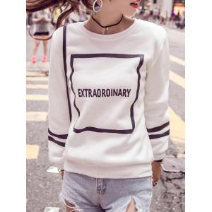 Letter Long Sleeve Jewel Neck Sweatshirt - White - L
