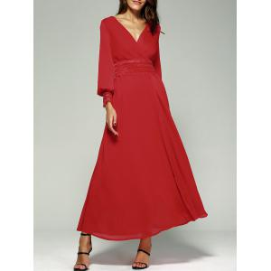 Empire Waist Chiffon Maxi Dress with Long Sleeve