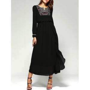 Maxi Long Sleeve A Line Chiffon Swing Dress