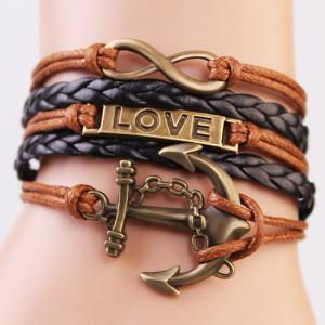 Stylish Anchor Infinite Strand Bracelet - Coffee - Xl