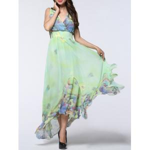 Boho Floral Asymmetric Chiffon Maxi Swing Beach Dress - Light Green - 4xl