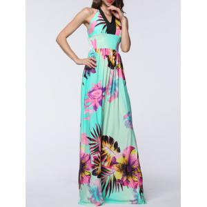 Plus Size Halter Backless Floral Maxi Prom Dress - Mint Green - Xl