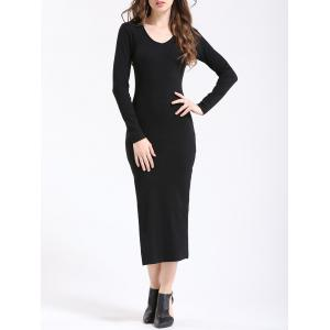 Chic Women's Pure Color Side Slit Slimming Dress - Black - M