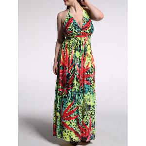Plus Size Leopard Print Halter Maxi Dress - Colormix - 4xl