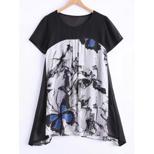Plus Size Sweet Butterfly Print Asymmetrical Blouse - White - 2xl
