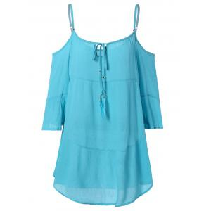 Attractive Cold Shoulder Asymmetric Casual Dress - Light Blue - S