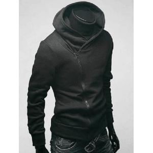 Side Zip Up Long Sleeve Plain Neck Hoodie For Men