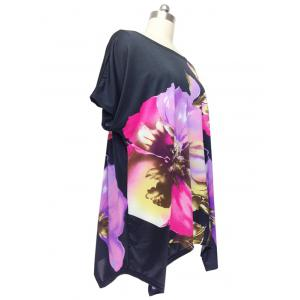 Graceful Cap Sleeve Floral Blouse For Women - BLACK ONE SIZE