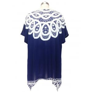 Stunning Cap Sleeve Handkerchief Blouse For Women - DEEP BLUE ONE SIZE