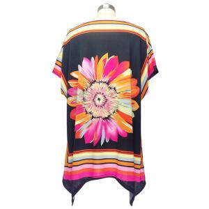 Colorized Floral Cap Sleeve Blouse For Women - COLORMIX ONE SIZE