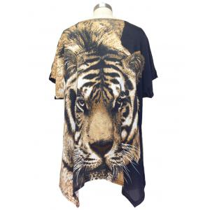 Trendy Tiger Print Loose Fitting Animal Print Blouse For Women -