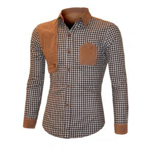 Suede Splicing Plaid Long Sleeve Shirt