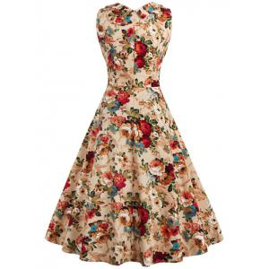 Retro Style High-Waisted Floral Print Women's Dress - KHAKI L