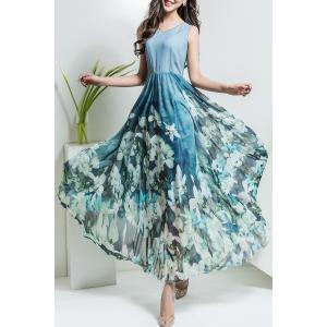 Floral V Neck Maxi Chiffon Flowy Dress - Light Blue - 3xl