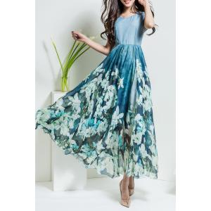 Floral V Neck Maxi Chiffon Flowy Dress -