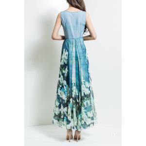 Floral V Neck Maxi Chiffon Flowy Dress - LIGHT BLUE 3XL