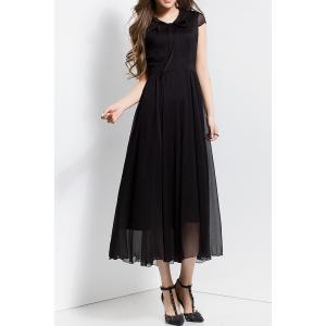 Bowknot Collar Solid Color Maxi Dress - Black - S