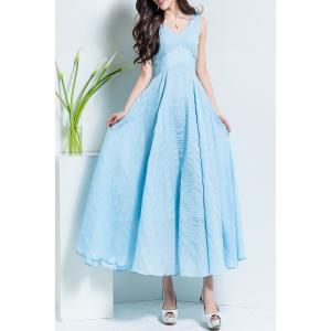 V Neck Solid Color Maxi Dress - Azure - L