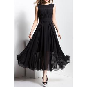 Slash Neck Maxi Chiffon Flowy Evening Dress