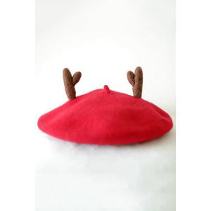 Chic Christmas Deer Horn Felt Beret - Red