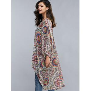 Batwing Sleeve Tribal Print Long Kimono Cover Up -