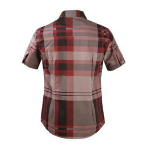 Plaid Snap Button Turn-down Collar Short Sleeve Shirt For Men - WINE RED 3XL
