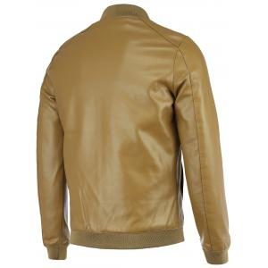 PU-Leather+Polyester Solid Color Stand Collar Long Sleeve Jacket -