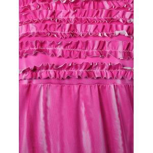 Ombre Mini Bandeau Strapless Bodycon Summer Dress - ROSE RED XL