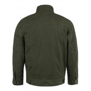 Cotton Blends Solid Color Badge Stand Collar Long Sleeve Jacket -