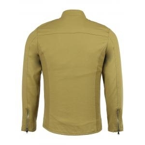 Cotton Blends Stand Collar Solid Color Long Sleeve Jacket -