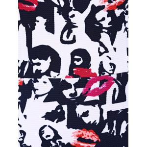 Face Print Mermaid Sweetheart Prom Dress - BLACK AND WHITE AND RED 2XL