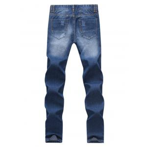 Straight Leg Zipper Fly Scratch Ripped Jeans For Men - BLUE 33
