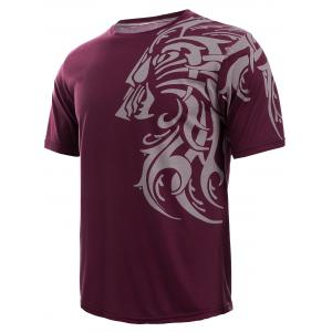 Tattoo Style Tiger Print Round Neck Short Sleeve T-Shirt For Men - RED XL