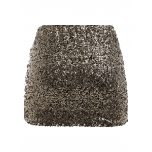 Plus Size Fitted Sequined Micro Skirt -