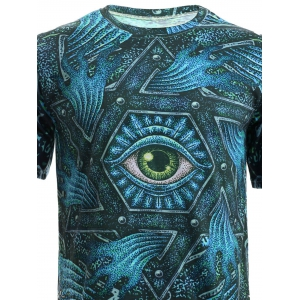 3D Geometric and Print Round Neck Short Sleeve T-Shirt For Men -