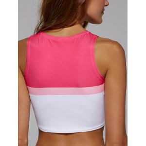 Slim Printed Color Block Jersey Crop Top For Women - ROSE RED XL