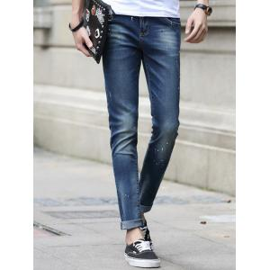 Zipper Fly Paint Splatter Tapered Jeans For Men -