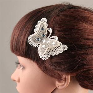 Delicate Cut Out White Lace Rhinestone Butterfly Barrette For Women -