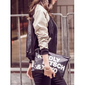 Long Sleeve Faux Leather Bomber Jacket -