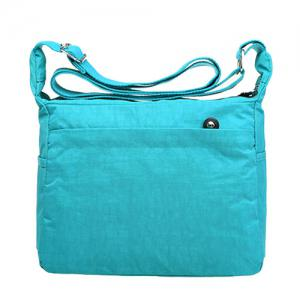 Simple Zippers and Nylon Design Shoulder Bag For Women - LAKE BLUE