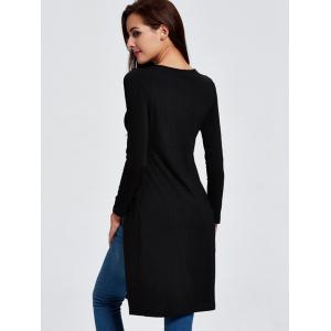 Street Style High Slit Ribbed Top For Women - BLACK 2XL